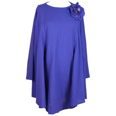 Nazareno Gabrielli wool blue dress tunic flower size 42 women's 1980s vintage
