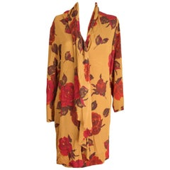 Laura Biagiotti Risposte orange brown silk floral dress 1980s size 42 it vintage