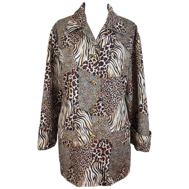 Escada Margaretha Ley animalier beige brown coat 1980s size 44 it women's