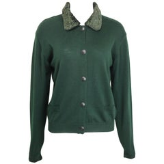 Vintage Gianni Versace Jeans Couture Green Wool Cardigan