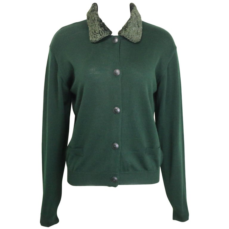 Gianni Versace Jeans Couture Green Wool Cardigan