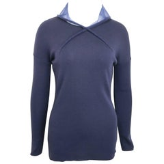 Liviana Conti Navy Blue Wool Sweater with See Through Hoodie
