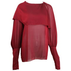 2007 Chanel Red Silk Victorian Style Long Sleeves Shirt