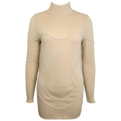 Mugler by Thierry Mugler Light Beige Mock Neck Wool Sweater