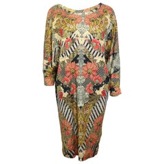 Alexander McQueen Floral Print 3/4 Sleeves Silk Dress