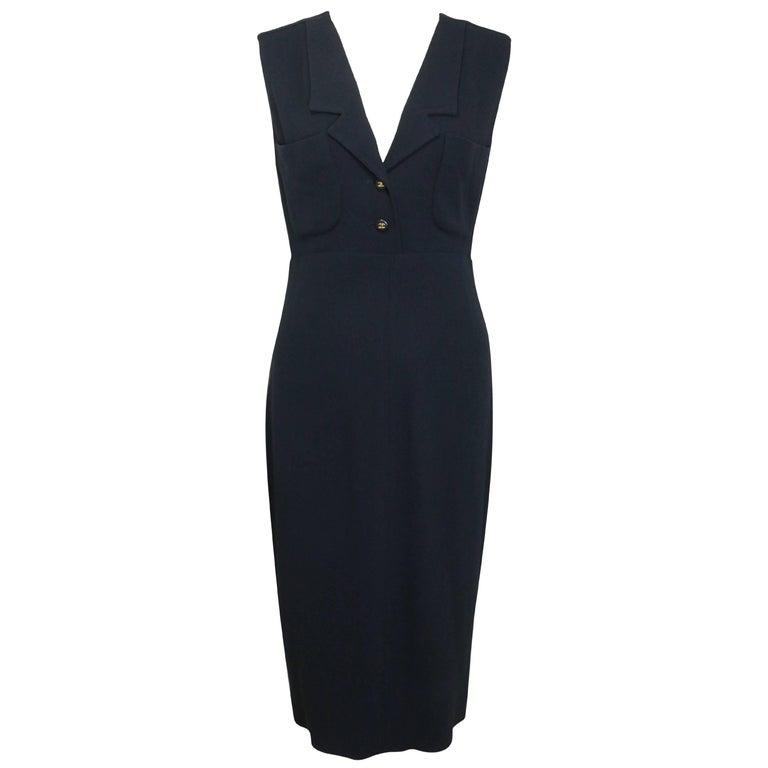 Chanel Classic Black Wool Long Dress  For Sale