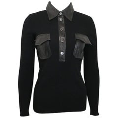 Gucci by Tom Ford Black Wool with Leather Pocket Collar Button Top