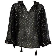 Yves Saint Laurent 1970's Silk Black / Gold Dots Boho Blouse