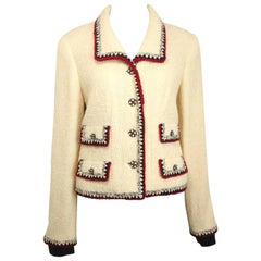 Fall 2006 Chanel White Wool Tweed with Black and Red Piping Trim Jacket