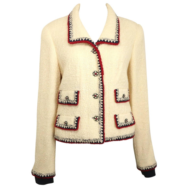 Chanel White Wool Tweed with Black and Red Piping Trim Jacket