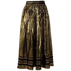Yves Saint Laurent 1970's Black Cotton / Gold Lame Boho Skirt