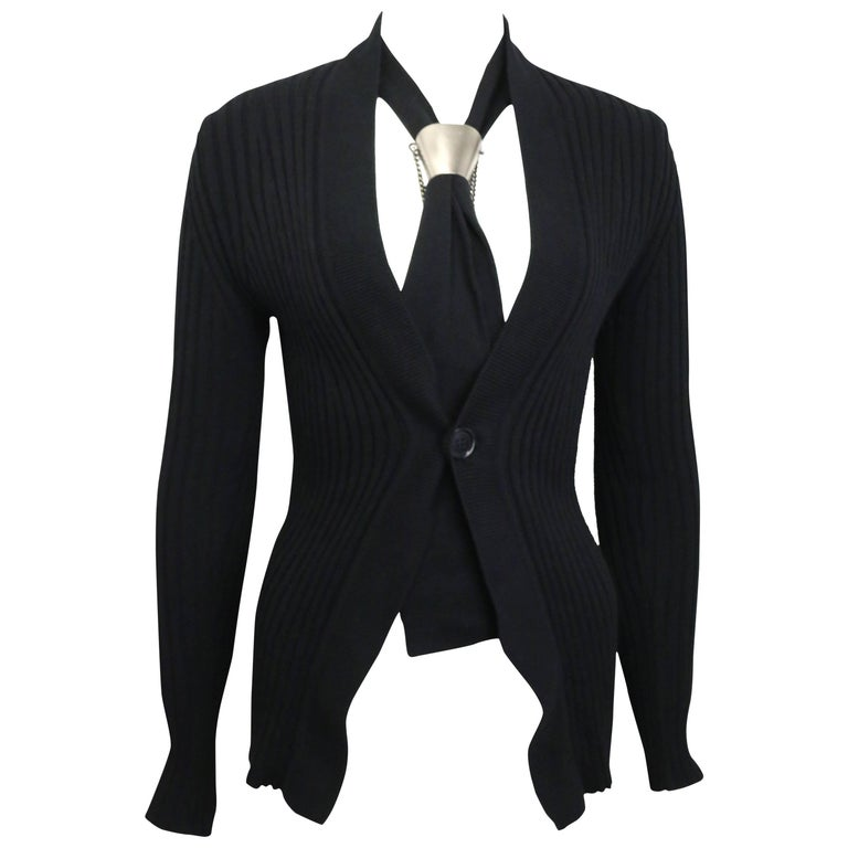 Dirk Bikkembergs Black Wool Cardigan with Silver Toned Hardware Tie Clip  For Sale