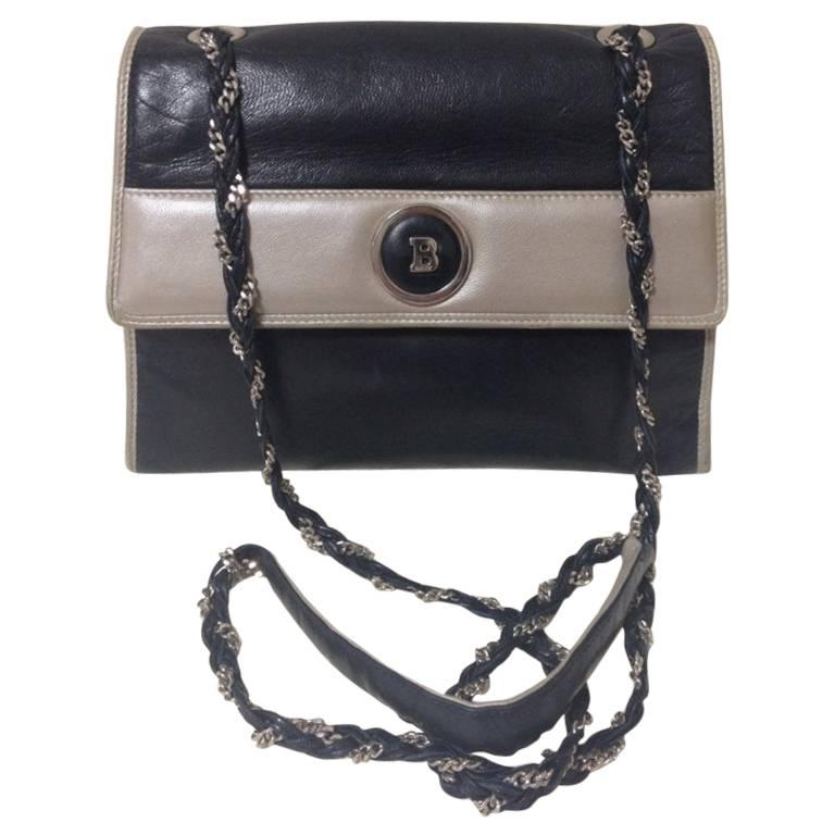 Vintage BALLY black and pearl white color lamb leather silver chain shoulder bag
