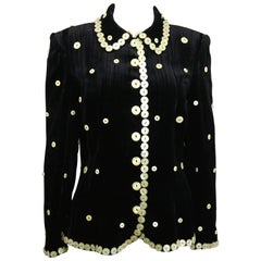 Vintage Franck Sorbier Haute Couture Black Velvet Mother of Pearl Buttons Jacket