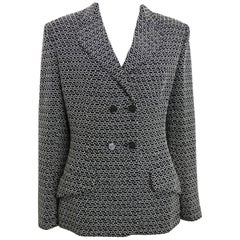 1998 Chanel Black Tweed Wool  with White Knitted Net Double Breasted Jacket