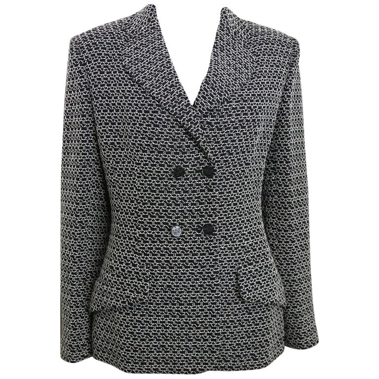 Chanel Black Tweed Wool  with White Knitted Net Double Breasted Jacket
