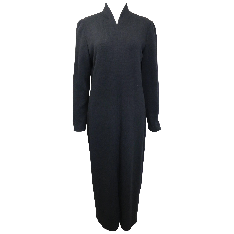 90s Celine Black Wool V-Shaped Neckline Long Dress