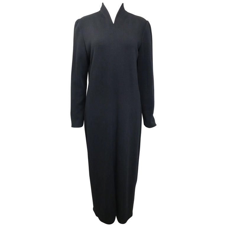 90s Celine Black Wool V-Shaped Neckline Long Dress  For Sale
