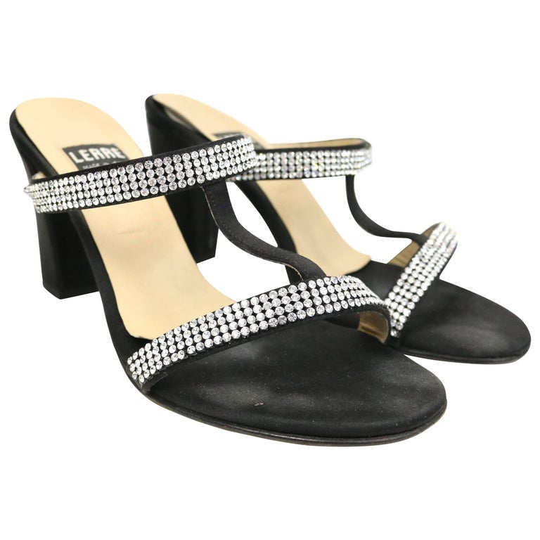 LERRE Black with Silver Rhinestones Strap Open Toe Sandals Heels