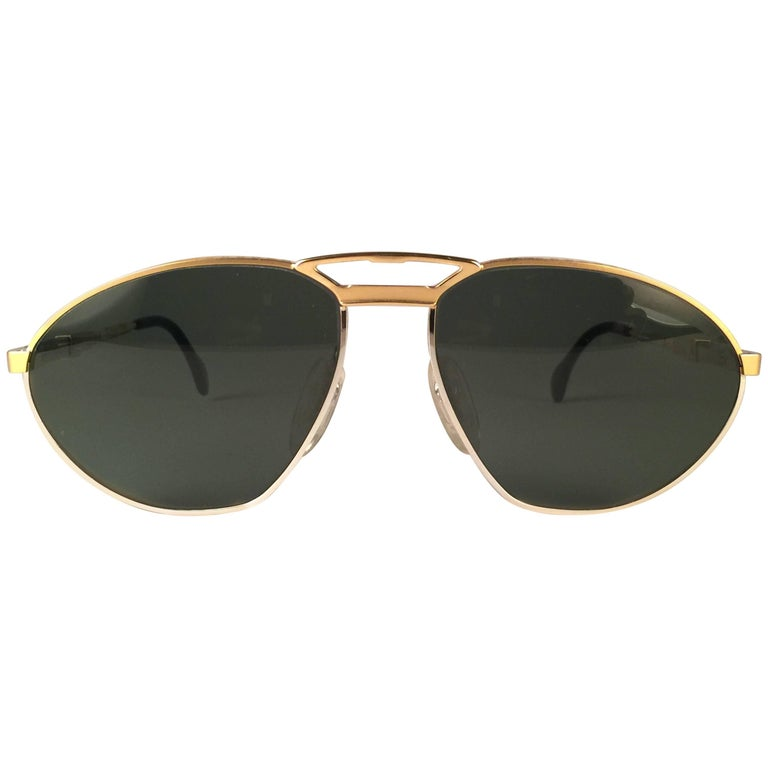 New Vintage Zeiss Competition Silver & Gold Grey Lenses 1980's Sunglasses For Sale