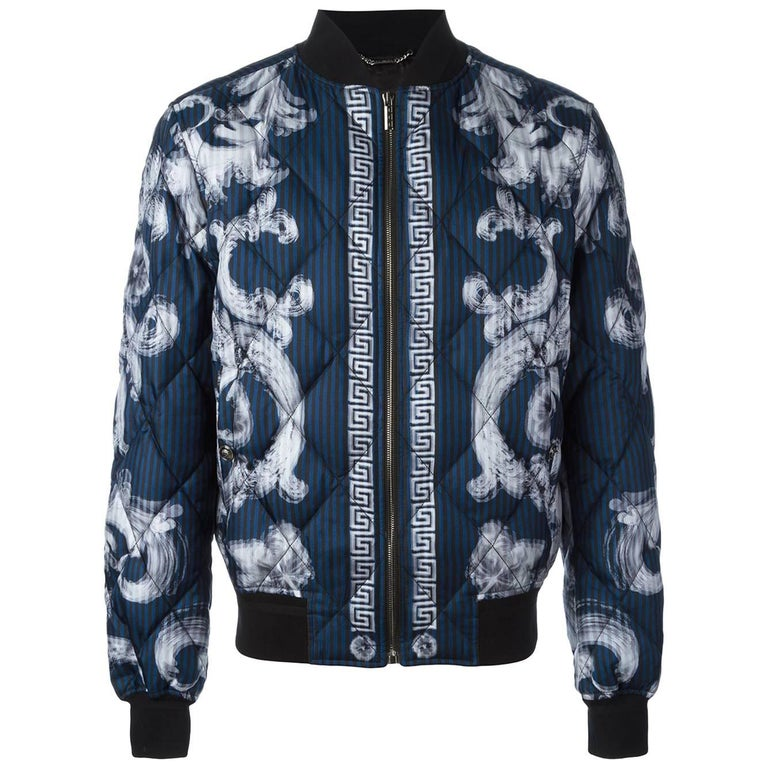 d2ba5d7f3b VERSACE 'Lenticular Foulard' QUILTED SILK DOWN BOMBER JACKET for MEN