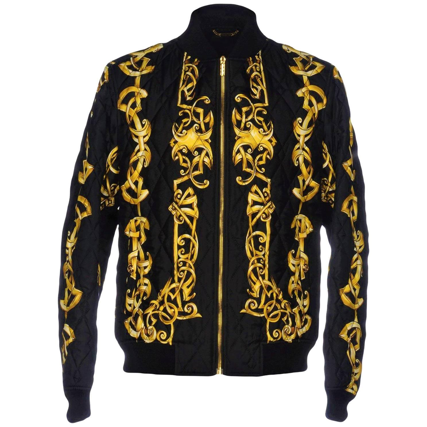 VERSACE QUILTED 100% SILK BOMBER JACKET for MEN