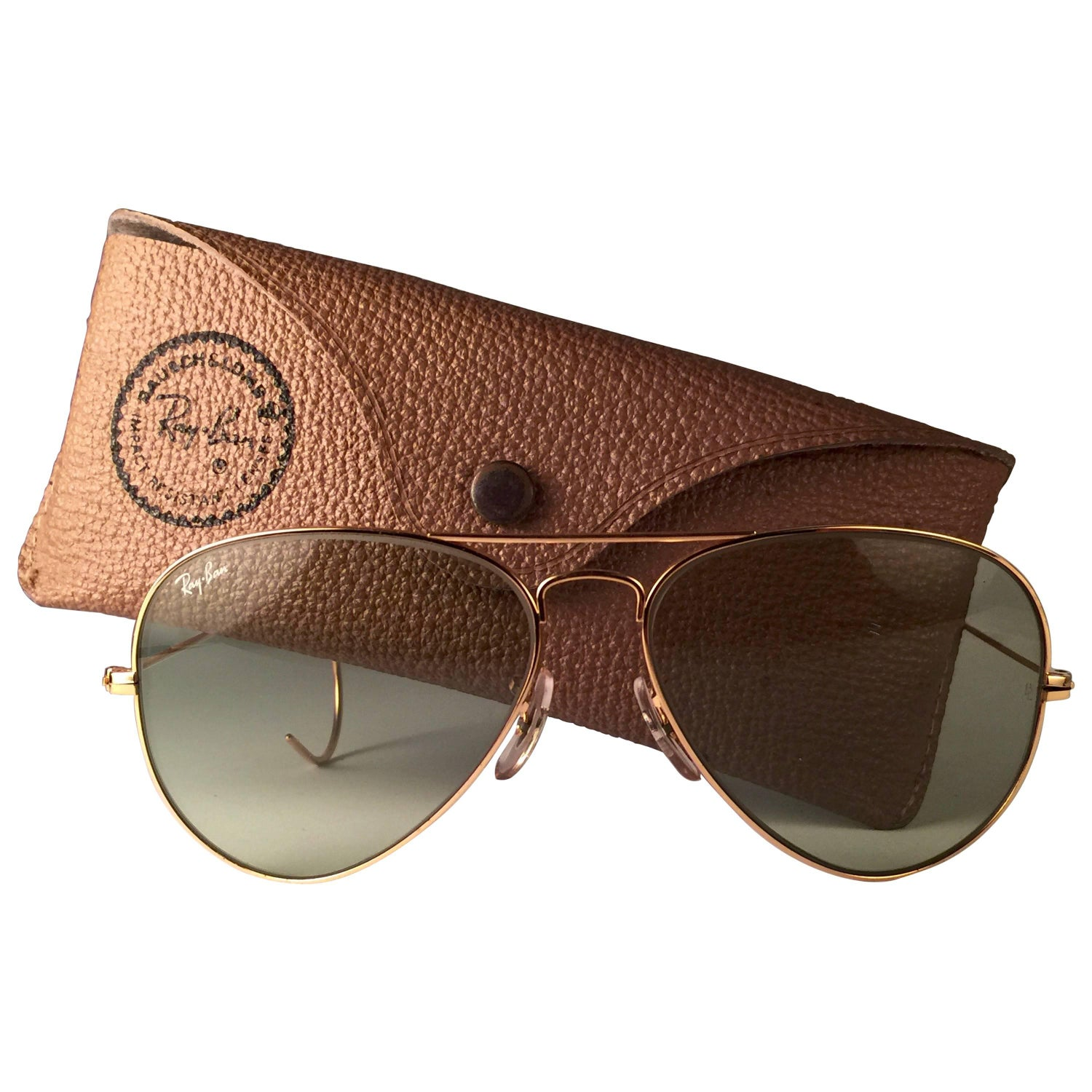 7456c6a65cd New Vintage Ray Ban Aviator 58Mm Gold Green Changeable Lenses B L Sunglasses