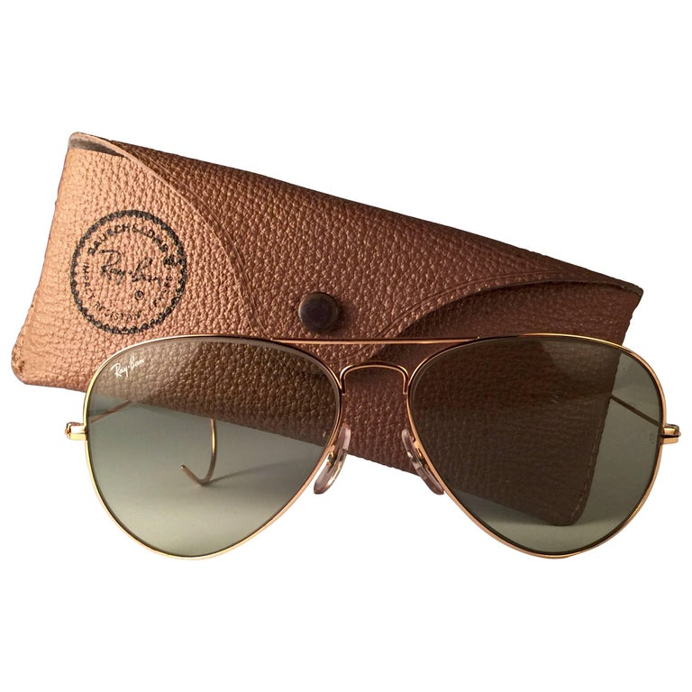 206e24320ae9 New Vintage Ray Ban Aviator 58Mm Gold Green Changeable Lenses B L Sunglasses  For Sale