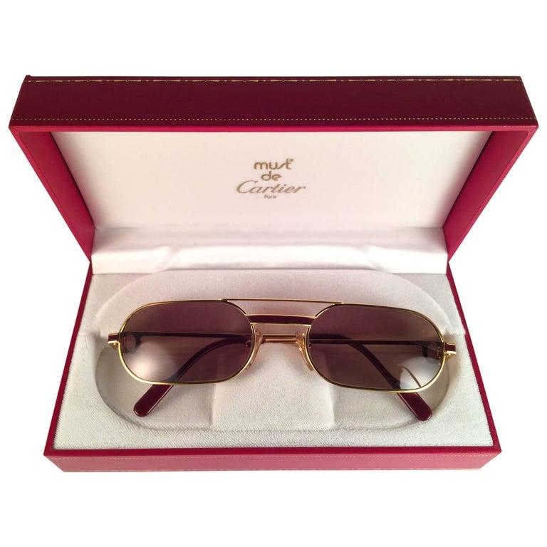 MINT Vintage Cartier Louis Laque De Chine Medium 55mm France Sunglasses