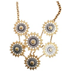 Alexander McQueen Gold Mechanical Gears Necklace with Chunky Chain