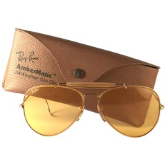 New Vintage Ray Ban Aviator Gold Ambermatic 62Mm 1970's B&L Sunglasses