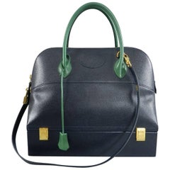 Hermes Vintage Bolide MacPherson 34 Trunk Bag Bicolor Green and Navy