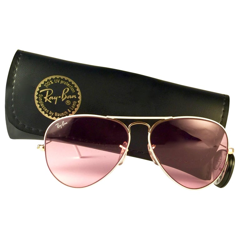 b8869b60eba New Vintage Ray Ban Aviator Flying Colors White Rose Lenses B L Sunglasses  at 1stdibs