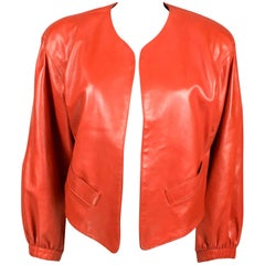 1980s Yves Saint Laurent Red Soft Leather Jacket