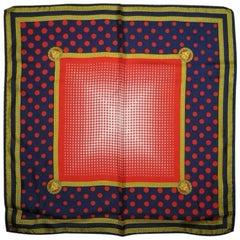 NEW/MINT. Vintage Gianni Versace navy, red polka dot, white gradation silk scarf