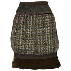 Recent Louis Vuitton Mixed Textiles Silk Chiffon & Tweed Skirt
