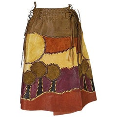 Char Leather and Suede Wrap Scenic Patchwork Skirt, 1960s