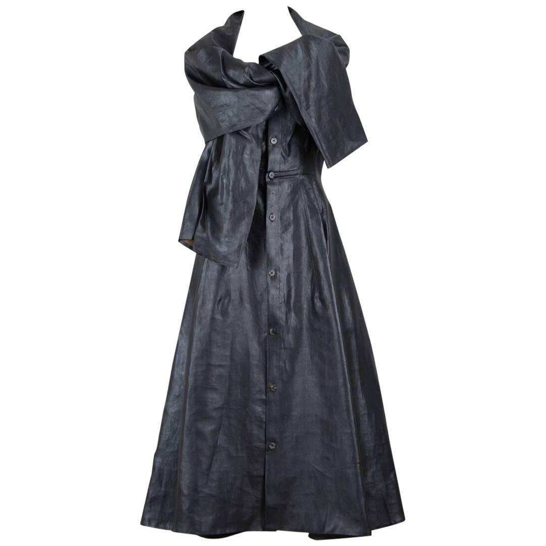 Yohji Yamamoto Charcoal Grey Coated Silk Dress With Draped Capelet Collar, 1990s