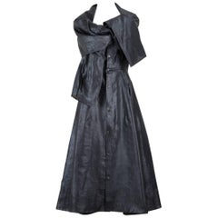 Yohji Yamamoto Charcoal Grey Coated Silk Dress With Draped Capelet Collar, 1990s