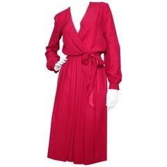 A 1980s Christian Dior Red SIlk Jacquard Skirt & Blouse Ensemble