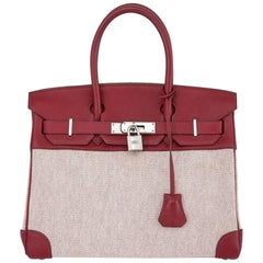 Hermes Red Toile H Taurillon Clemence Birkin 30cm - Rare