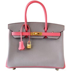 Hermes Birkin 30 Bag Horseshoe Gris Mouette w/ Rose Azalee Brushed Gold Epsom