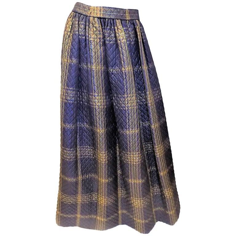 Oscar Dela Renta Gold and navy plaid  vintage ball skirt