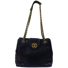 90' Chanel blue leather gold tone hardware shoulder bag