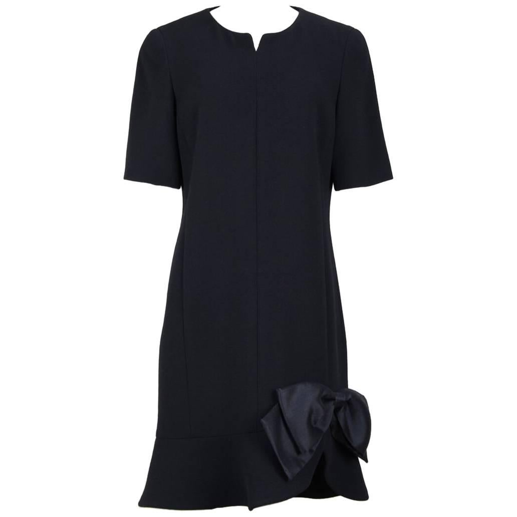 Little Black Wool Crêpe Evening Cocktail Dress With Exaggerated Raw Silk Bow