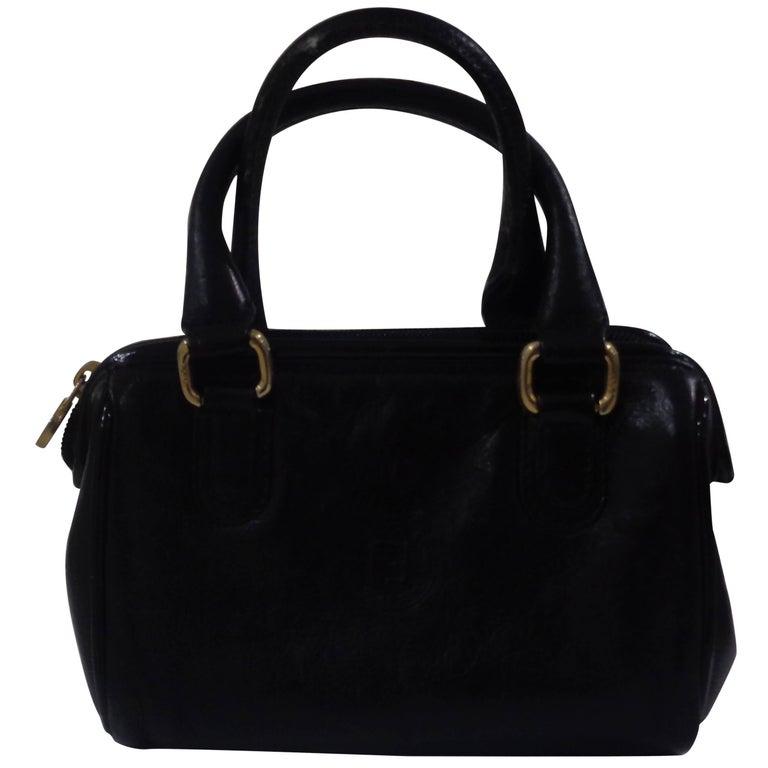 Fendi black leather small handle bag