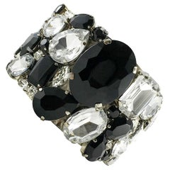 Armani Hand-Made Black Glass and Crystal Cuff Bracelet - 21st Century