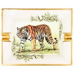 Hermes White Porcelain Gilt Gold Desk Table Decorative Ashtray Tray Trinket Dish