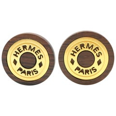 1990s Hermes Wood and Gold-Plated Round Clip-On Earrings