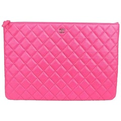 Chanel Hot Pink Fuchsia Caviar Evening Clutch Bag Purse